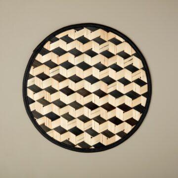 Black Woven Bamboo Placemat, Escher