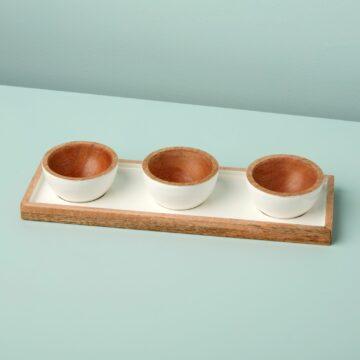 Mango Wood & White Enamel Dipping Bowl Set