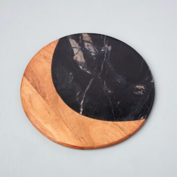 Marine Black Marble & Acacia Round Board