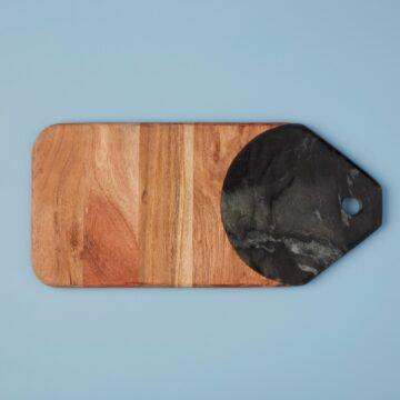Marine Black Marble & Acacia Tab Board, Large