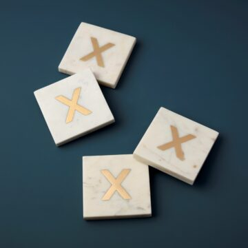 White Marble & Gold Monogram Coasters Set of 4, X