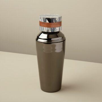 Zebra Marble & Wood Onyx Cocktail Shaker