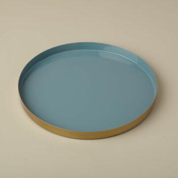 Gold & Enamel Round Tray, Large, Marine