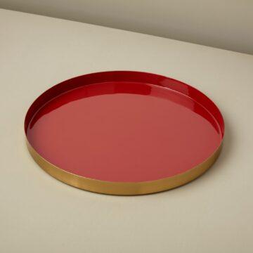 Gold & Enamel Round Tray, Large, Paprika