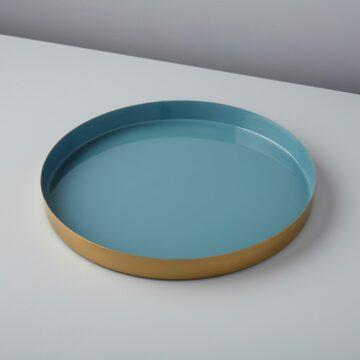 Gold & Enamel Round Tray, Small, Marine
