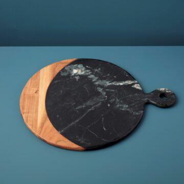 Marine Black Marble & Acacia Oversized Round Board with Handle