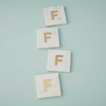 White Marble & Gold Monogram Coasters Set of 4 – Letter F