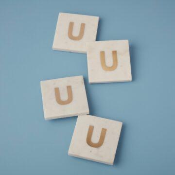 White Marble & Gold Monogram Coasters Set of 4, U