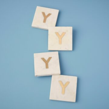 White Marble & Gold Monogram Coasters Set of 4, Y