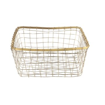 Stainless Wire and Cane Tall Square Basket
