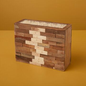 Reclaimed Wood Mosaic Knife Block, Small