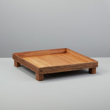 Reclaimed Wood Square Footed Tray, Large